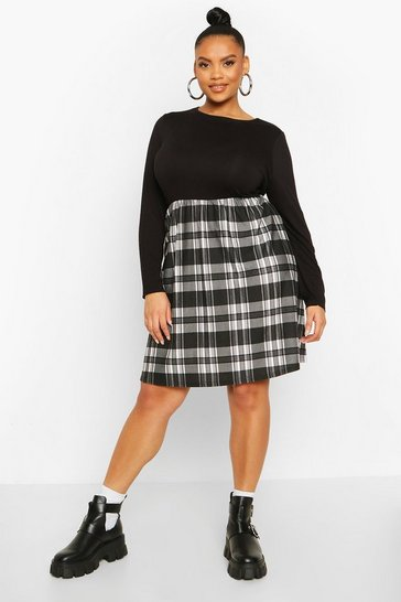 Black Plus Check Contrast Smock Dress