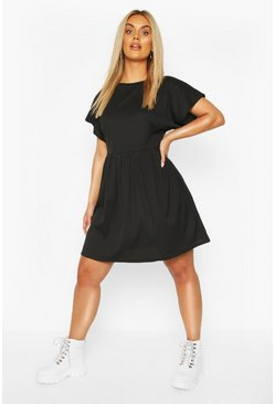 Black Plus Jumbo Rib Smock Dress