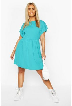 Turquoise Plus Jumbo Rib Smock Dress