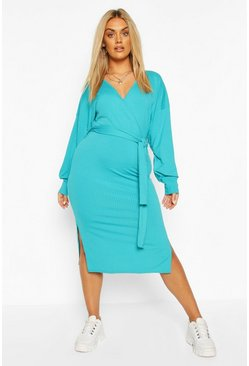 Turquoise Plus Jumbo Rib Midi Dress