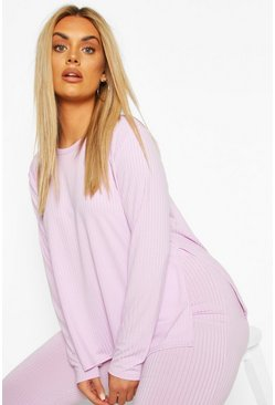 Lilac Plus Jumbo Rib Side Split Shirt