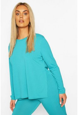 Plus Jumbo Rib Side Split Shirt, Turquoise