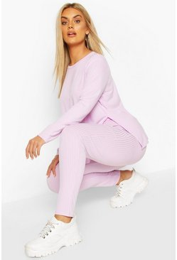 Lilac Plus Jumbo Rib High Waist Legging