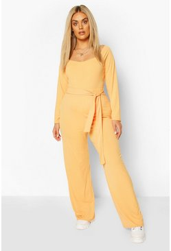 Plus Jumbo Rib Wide Leg Trousers , Apricot
