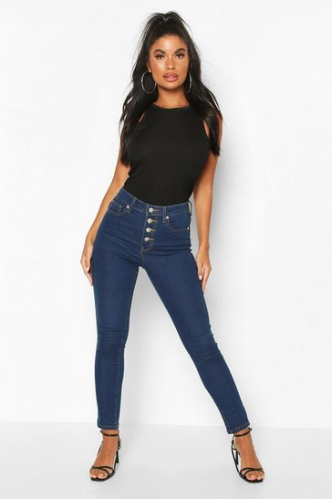 Mid blue Petite Exposed Button Front Skinny Jean