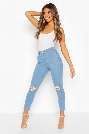 Light blue Petite High Waist Skinny Distressed Jean