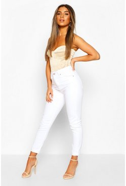 White Petite High Rise Mom Jean