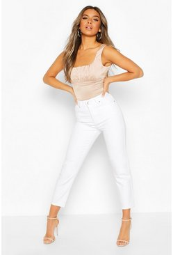 White Petite High Rise Straight Leg Distressed Jean