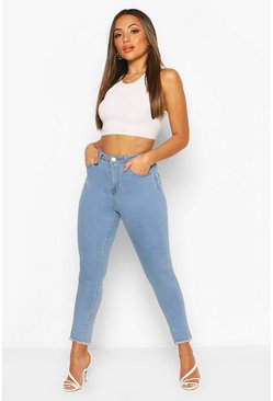 Light blue Petite Frayed Hem Skinny Jean