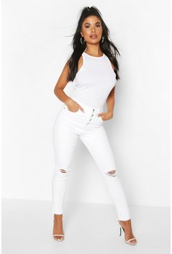 Petite High-Waist Skinny Jeans in Destroyed-Optik, Weiß