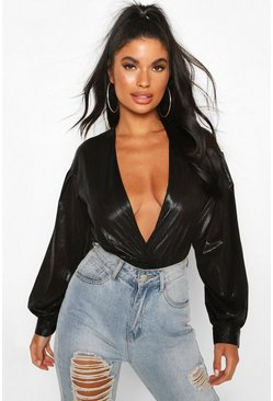 Black Petite Volume Sleeve Wrap Detail Metallic Bodysuit