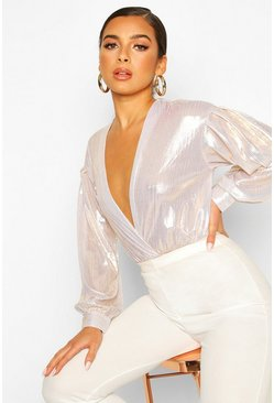 Gold Petite Volume Sleeve Wrap Detail Metallic Bodysuit