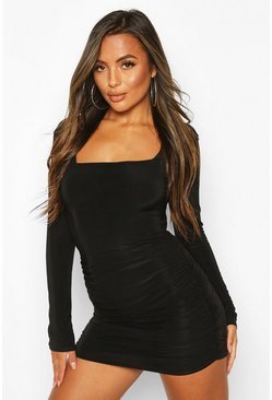 Black Petite Ruched Square Neck Mini Dress