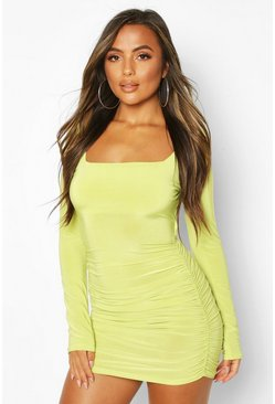 Limeade Petite Ruched Square Neck Mini Dress