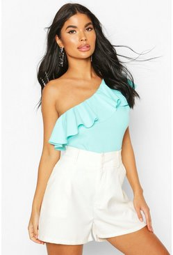 Aqua Petite One Shoulder Frill Bodysuit