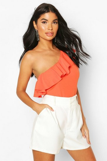 Orange Petite One Shoulder Frill Bodysuit