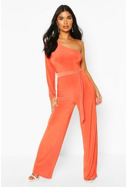 Orange Petite One Shoulder Tie Waist Jumpsuit