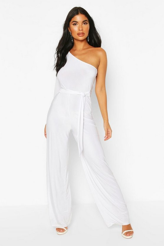 White Petite One Shoulder Tie Waist Jumpsuit