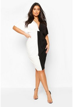 Black Plus Plunge Colour Block Twist Front Midi Dress