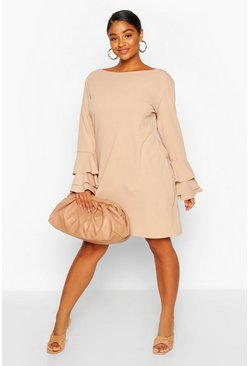 Stone Plus Frill Sleeve Shift Dress