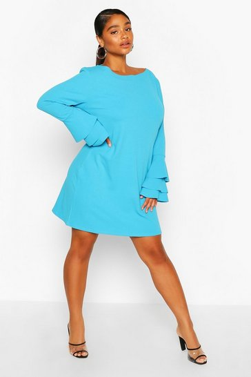 Turquoise Plus Frill Sleeve Shift Dress