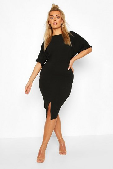 Black Plus Wiggle Midi Dress