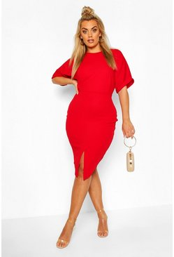 Robe midi wiggle Plus, Rouge