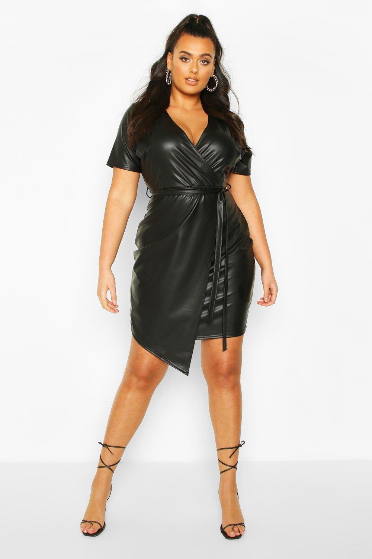 Plus Leather Look Wrap Dress 8