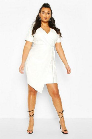 Ecru Plus Leather Look Wrap Dress