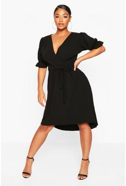 Black Plus Puff Sleeve Self Belted Midi Dress