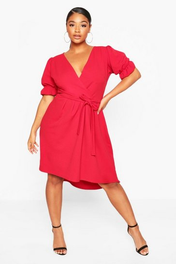 Red Plus Puff Sleeve Self Belted Midi Dress