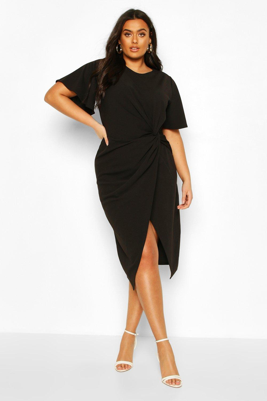 Plus Angel Sleeve Twist Detail Midi Dress 8