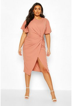 Rose Plus Angel Sleeve Twist Detail Midi Dress
