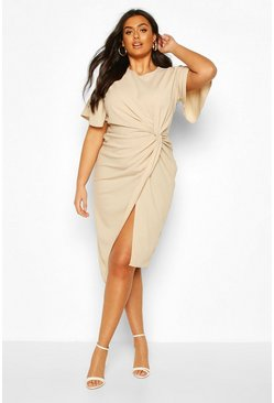 Stone Plus Angel Sleeve Twist Detail Midi Dress