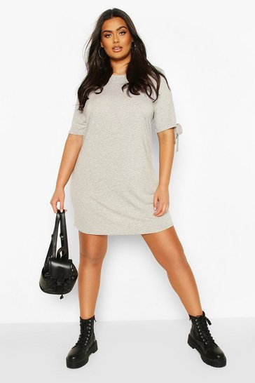 Grey marl Plus Tie Sleeve Oversized Shift Dress