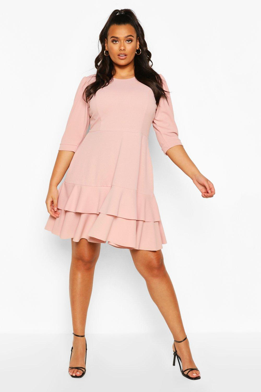 Plus Puff Sleeve Ruffle Skater Dress 6
