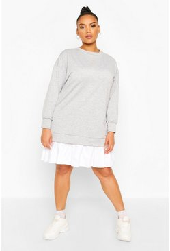 Grey Plus Sweat Contrast Cotton Ruffle Dress