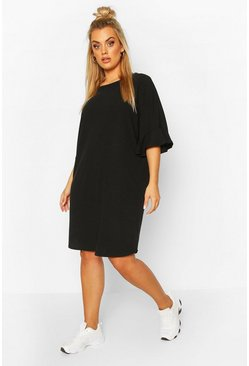 Black Plus Ruffle Sleeve Soft Rib T-Shirt Dress