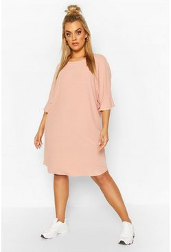 Blush Plus Ruffle Sleeve Soft Rib T-Shirt Dress