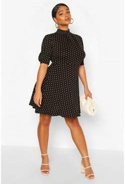 Black Plus Heart Print Puff Sleeve Skater Dress