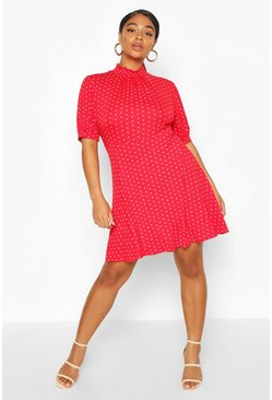 Red Plus Heart Print Puff Sleeve Skater Dress