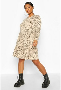 Stone Plus Heart Ruffle Printed Smock Dress
