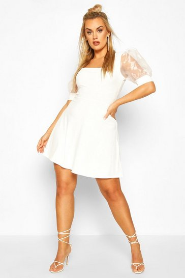 Ivory Plus Organza Puff Sleeve Skater Dress