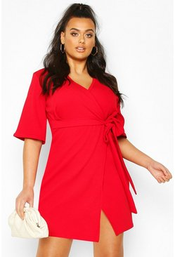 Plus Wrap Self Belted Dress, Red