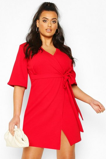 Red Plus Wrap Self Belted Dress