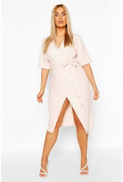 Blush Plus Wrap Self Belted Midi Dress