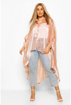 Camel Plus Oversized Organza Maxi Shirt