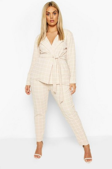 Stone Plus Grid Check Blazer & Trouser Co-ord