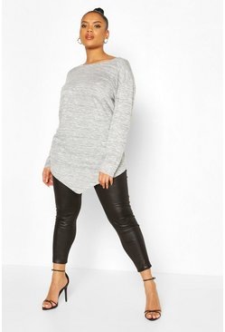Grey Plus Longsleeve Asymmetric Tunic Top