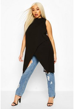 Black Plus Sleeveless Cross Over Hem Top